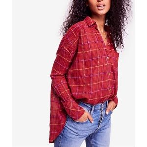 Free People Break My Stride Metallic Plaid Tunic